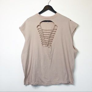UO Truly Madly Deeply Cut-Out Macrame Tee Sz XS